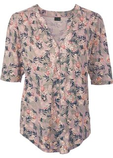 Блузка с застежкой на пуговицы (розовый винтажный в цветочек) Bonprix