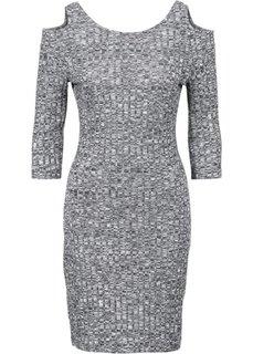 Платье вязаного дизайна (черный/белый меланж) Bonprix