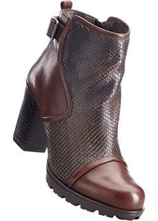 Кожаные полусапожки (темно-коричневый) Bonprix