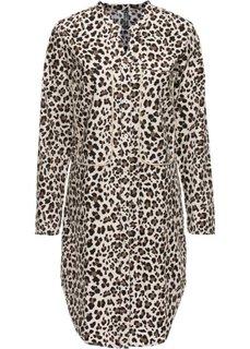 Удлиненная блузка (коричневый леопардовый/бежевый) Bonprix