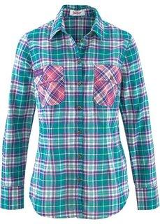 Клетчатая рубашка с длинным рукавом (сапфирно-синий в клетку) Bonprix