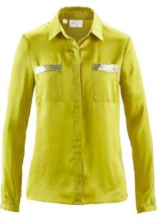 Блузка с пайетками (фисташковый/серебристый) Bonprix