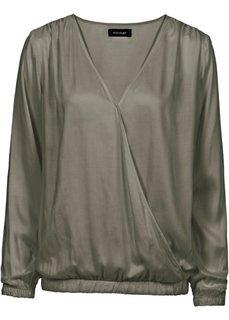 Блузка с эффектом запаха (зеленый хаки) Bonprix