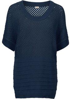 Пуловер с перфорацией (темно-синий) Bonprix