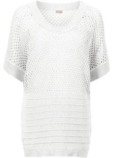 Пуловер с перфорацией (белый) Bonprix