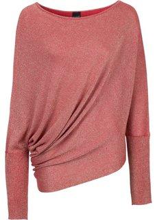 Пуловер с люрексом и асимметричным низом (красный металлик) Bonprix