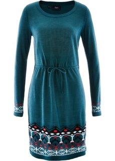 Вязаное платье (петролевый с узором) Bonprix