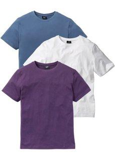 Классическая футболка (виноградный + синий джинсовый + белый) Bonprix
