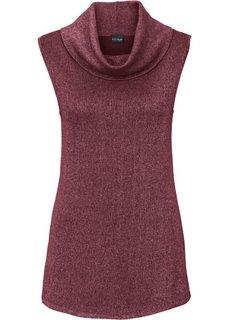 Пуловер с высоким воротом (бордовый/серебристый) Bonprix