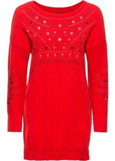 Удлиненный пуловер (клубничный) Bonprix