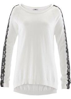Пуловер с кружевом и длинным рукавом (цвет белой шерсти/черный) Bonprix