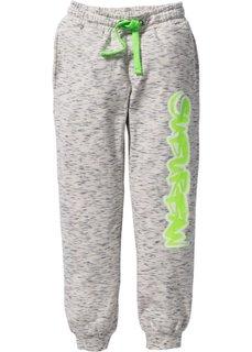 Трикотажные брюки с модным принтом (меланж цвета белой шерсти) Bonprix