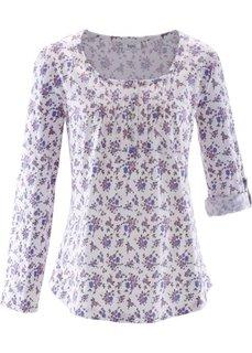 Хлопчатобумажная футболка с длинным рукавом (белый в цветочек) Bonprix