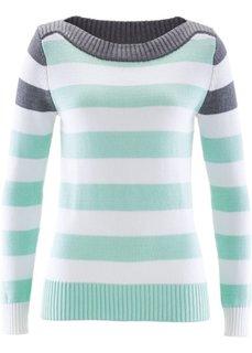 Пуловер с вырезом-лодочкой (серый меланж/нежно-мятный/белый в полоску) Bonprix