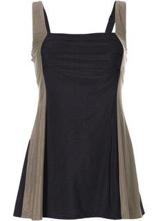 Купальник-платье, моделирующий фигуру (черный/светло-оливковый) Bonprix