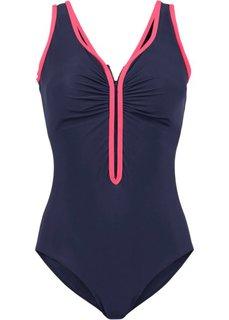 Утягивающий купальный костюм (синий/ярко-розовый) Bonprix