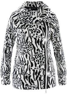 Флисовая куртка на молнии (цвет белой шерсти/черный с рисунком) Bonprix