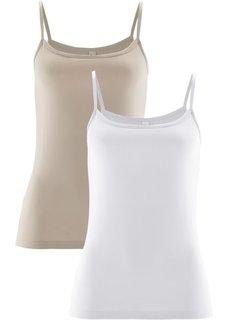 Топ (2 штуки в упаковке) (телесный + белый) Bonprix