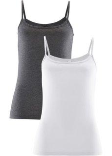 Топ (2 штуки в упаковке) (серый меланж + белый) Bonprix