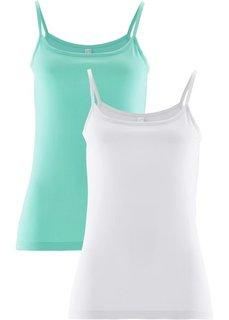 Топ (2 штуки в упаковке) (синий ментол + белый) Bonprix
