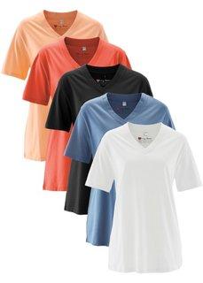 Удлиненная футболка с коротким рукавом (5 шт.) (мандариново-красный + абрикосовый + синий джинсовый + белый) Bonprix