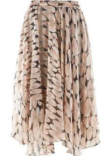 Шифоновая юбка с принтом (розовый с рисунком) Bonprix