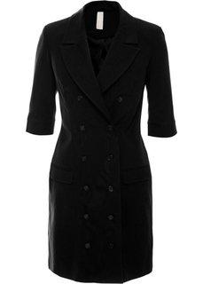 Платье на пуговицах (черный) Bonprix