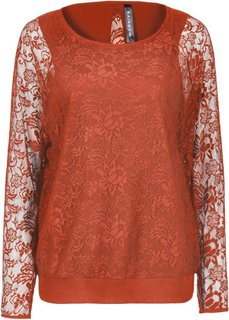 Кружевная футболка (красно-коричневый) Bonprix