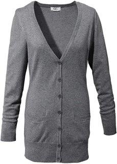 Длинный кардиган тонкой вязки (серый меланж) Bonprix