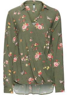 Блузка с эффектом запаха (оливковый в цветочек) Bonprix