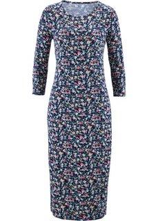 Трикотажное платье с рукавами 3/4 (черный в цветочек) Bonprix