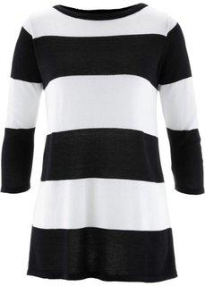 Пуловер (черный/белый в полоску) Bonprix
