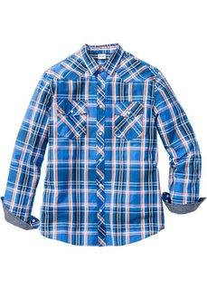 Рубашка Regular Fit с длинным рукавом (синий в клетку) Bonprix