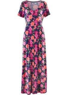 Трикотажное макси-платье с коротким рукавом (синий в цветочек) Bonprix