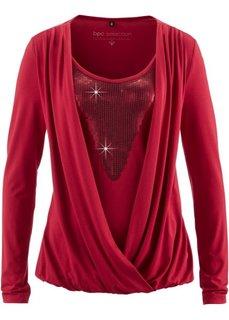 Трикотажная блузка с пайетками (темно-красный) Bonprix