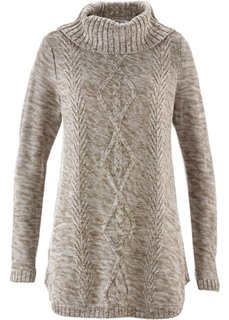 Пуловер-пончо с длинным рукавом (меланж цвета белой шерсти) Bonprix