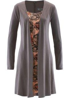 Трикотажное платье 2 в 1 (бурый с рисунком) Bonprix