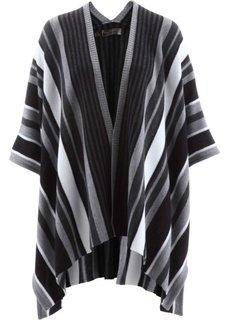 Вязаное пончо (черный/белый в полоску) Bonprix