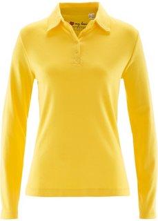 Футболка-поло с длинным рукавом (желтый) Bonprix