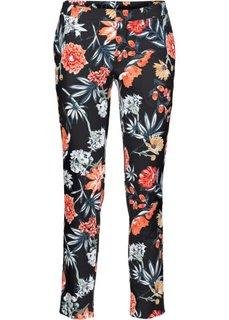 Стрейтчевые брюки с принтом, длина 7/8 (черный с рисунком) Bonprix