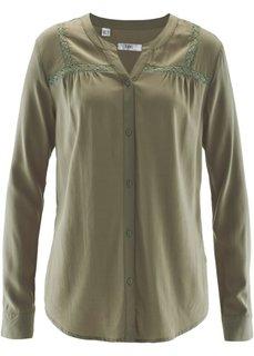 Блузка с кружевной отделкой (новый хаки) Bonprix
