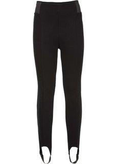 Эластичные брюки со штрипками (черный) Bonprix