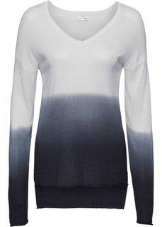Пуловер с V-образным вырезом (белый/серо-голубой) Bonprix