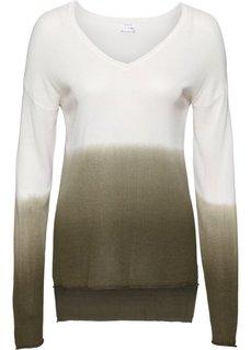 Пуловер с V-образным вырезом (белый/зеленый) Bonprix