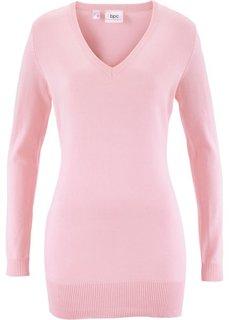 Длинный пуловер тонкой вязки (жемчужно-розовый) Bonprix