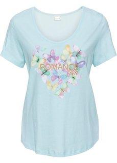 Трикотажная футболка с изображением бабочек (полярно-мятный с рисунком) Bonprix