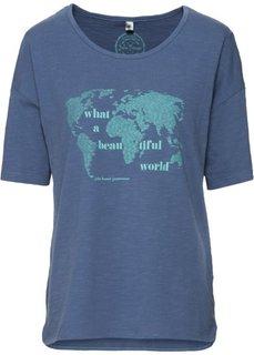 Широкая футболка с принтом и рукавом 1/2 (индиго) Bonprix