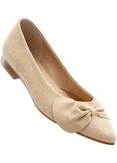 Замшевые балетки (песочно-бежевый) Bonprix