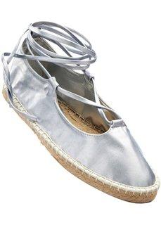 Балетки на шнуровке (серебристый) Bonprix