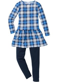 Комплект: платье и леггинсы (2 изделия) (синий/зеленый океан в клетку) Bonprix